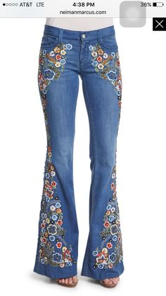 Ryley Embroidered Flare Jeans, Light Blue by Alice Olivia at Neiman Marcus. Embellished Jeans, Embroidered Jeans, Jeans With Embroidery, Floral Embroidery, Hippie Jeans, Painted Jeans, Floral Jeans, Retro Stil, Refashioned Clothes
