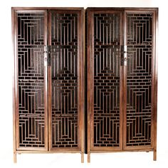 Rare Chinese Cabinets with Lattice Panels
