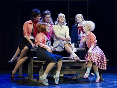 Like the idea of soloist sitting in middle of girls for love song Grease Broadway, Grease Musical, Grease 2016, Musical Theatre, Theatre Props, Grease Party, Grease Is The Word, Grease Costumes, Camping Outfits