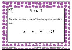 Math Brain Teaser from Math Problems and Math Brain Teasers Set C 66 Printable Math Task Cards $