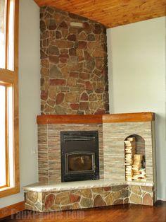 Carlton Fieldstone Harvest faux stone panels create an attractive corner fireplace design. #fauxstone