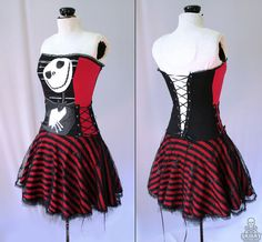 custom Nightmare Before Christmas striped corset by smarmyclothes, $235.00