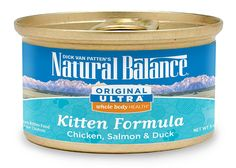 Natural Balance Kitten Formula Canned Wet Cat Food, Original Ultra Whole Body Health Chicken, Salmon and Duck, 3-Ounce Can (Pack of 24) * Click image for more details. (This is an affiliate link) #Cats
