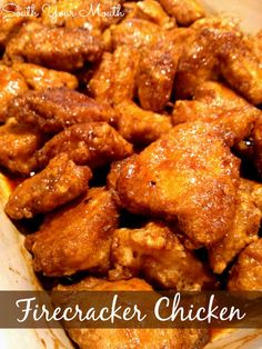 South Your Mouth: Firecracker Chicken.this is the same concept as the baked sweet and sour chicken using corn starch and egg, just a different sauce Turkey Recipes, Meat Recipes, Chicken Recipes, Cooking Recipes, Yummy Recipes, Food Dishes, Main Dishes, Firecracker Chicken, Baked Chicken