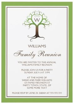 family reunion invitations | ... heart tree family reunion invitation in green and brown colors