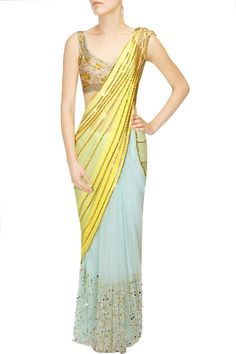 PAPA DON'T PREACH Sky blue and yellow laser cut mirror applique work sari