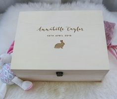 Keeps Girl Baby Box. Name/Date of Birth & Bunny rabbit engraved into NZ Pine Wood. Perfect to store those precious mementos and keepsakes. Www.keeps.co.nz