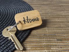 Hand-painted wooden 'Home' household keyring  Oak by MakeMemento