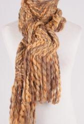 Wooltouch sjaal met zig-zag patroon in tinten beige/caramel