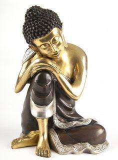 Ruhender Buddha aus Messing - verkupfert und versilbert - 25 cm Buddha, Messing, Ebay, Statues, Figurines