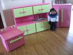 AVAILABLE IN FEBRUARY - Kitchen Furniture Set for American Girl Doll or 18-inch Doll. $435.00, via Etsy.