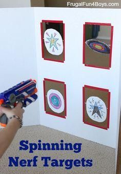 These targets spin when you hit them - how fun! This is great for removing yourself as your child's Nerf gun target!