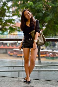 Cotton On top, F21 shorts, NewLook flats, Longchamp tote