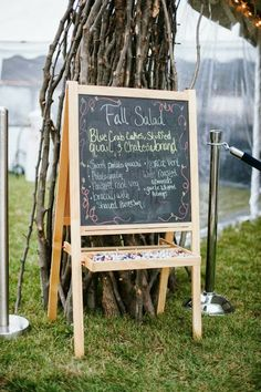 Chalkboard menu. Doesn't have to be the menu, but something chalkboardy could be cute.