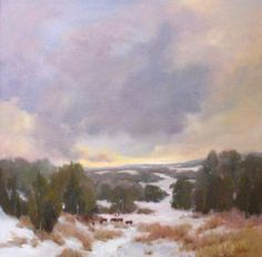 """Bethanne Kinsella Cople, """"Winter Landscape"""" - 40 x 40, Oil on Panel --at Principle Gallery"""