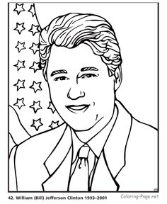 bill clinton us president coloring page