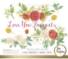 Love You Bouquets, Wedding flowers, Invitations, Cards, Quotes, watercolor clipart PNG, Bridal shower, arrangements, artistic