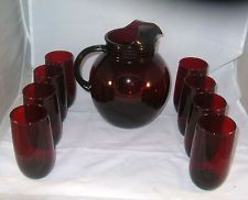 Anchor Hocking Royal Ruby 9 pc. water set Depression glass Upright ball pitcher