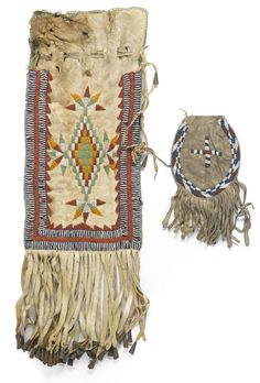 Two Apache beaded bags