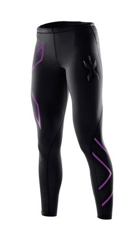 2XU Women's Compression Tights, Black/Purple Lacquer, Medium. Supports and protects gluts, abductors, IT band, quad, hamstring and calf muscles, helping reduce muscle swelling and soreness. Muscle Containment for reduced vibrations and oscillation, less fatigue and muscle damage. Lightweight and breathable fabric with SPF 50+ sun protection for all day comfort. Improved muscle alignment for increased power and endurance with a Graduated Compression Fit for circulatory benefits.