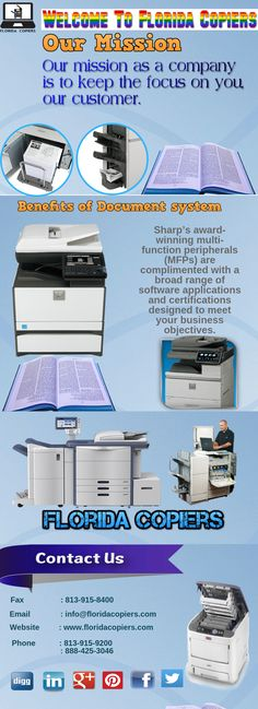 Sharp's award-winning multi-function peripherals (MFPs) are complimented with a broad range of software applications and certifications designed to meet your business objectives. Visit us: www.floridacopiers.com
