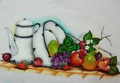 pintura em tecido frutas com bule e bacia de esmalte