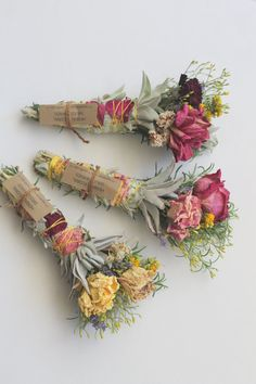 HERBAL | FLORAL SMUDGE WAND These smudge wands are made with a combination of wild foraged herbs and flowers. Roses are garden grown and wildflowers