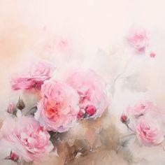 Blooming in pink #watercolor #paint #painting #art #artist #pink #rose #roses…