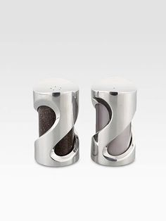 Proudly display these modern-looking salt and pepper shakers on your table: they're great for everyday and special occasions alike. The smoked glass makes it easy to tell them apart, while the alloy swirl is a whimsical design element that is unique, original and definitely eye-catching.