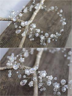 Wedding Crystal and Pearl Hair Vine Halo Bohemian by NovaHandmade