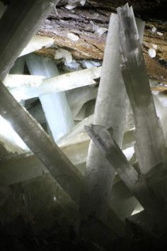 These are giant crystals found in a cave in Mexico--- there are caverns full of these immense crystals--- they are said to be razor sharp.