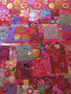 Kaffe Fassett pinks, reds and blues. Inspired by Wombat quilts. No pattern. Just stitched pieces together. Quilt Pictures, Pink Quilts, Charm Quilt, Hand Quilting, Floral Fabric, Quilt Making, Fabric Patterns, Quilting Designs, Blankets