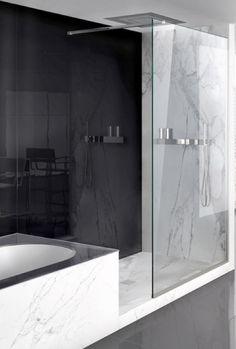 Sleek bathroom design, Lama shower screen system by Makro