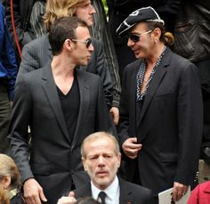 Alexis Roche and John Galliano attend the Yves Saint Laurent's funeral -June 2008 ,Paris