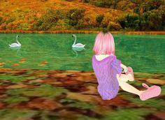 """""""Swan Lake"""" A lovely day watching the lake flow and sitting on comfy colorful leaves"""
