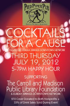 Invite to Cocktails for a Cause - a monthly event.