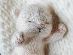 Baby Knitting Patterns, Knitting Bear, Knitting For Kids, Knitted Cat, Knitted Animals, Knitted Dolls, Crochet Toys, Instagram Gallery, Sleeping Bunny