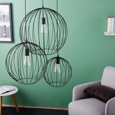 Black Wire Pendant with 3 Globes on Maisons du Monde. Take your pick from our furniture and accessories and be inspired! Home Ceiling, Ceiling Lamp, Ceiling Lights, Cool Lighting, Pendant Lighting, Wire Pendant, Interior Lighting, Metallica, Wall Sconces