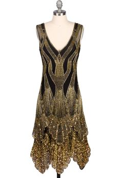 The Paris S Handkerchief Scallop Panel Art Deco Gown - Incorporating Iconic Art Deco Designs The Our Paris Deco Gown Is Handbeaded On Black Nylon Mesh With Black And Multi Gold Glass Beading And Sequins A Layered Panel Skirt Completes The Look An E Vintage Dresses, Vintage Outfits, Vintage Fashion, 1920 Fashion Dress, Gold Fashion, Flapper Fashion, 20s Fashion, Vintage Costumes, Art Deco Dress