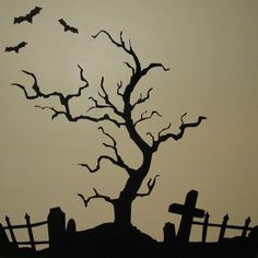 creepy halloween tree vinyl wall art