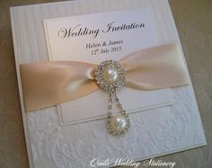 Buckingham. Luxury Damask Pearl & Diamante Wedding Invitation. Various colour options for satin ribbon.