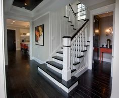 Going to paint my stairs to look like this!  Except I think Expresso instead of jet black . . .though the black does look good.