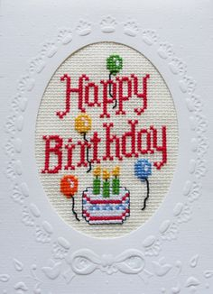 Happy Birthday Cross Stitched Cake & Balloons Greeting Note Card