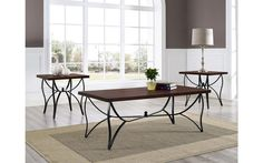 Sanford Brown Oak & Metal Coffee Table Set – My Furniture Place