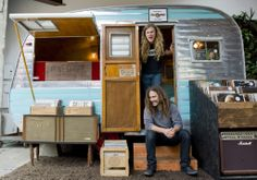 Creme Tangerine Records in a converted vintage trailer