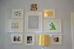 Love the way this gallery wall turned out.  I am going to use this as inspiration to create a wall in baby's room.