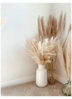 Room Ideas Bedroom, Bedroom Decor, Grass Decor, Big Vases, Aesthetic Room Decor, Home Room Design, Design Kitchen, White Vases, Home Decor Inspiration