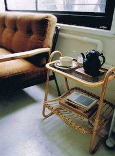 from Truck. Love this little side table - would use it for this, exactly: tea and books!