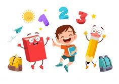 Happy kid at the school Premium Vector Book Design Inspiration, School Painting, Graphic Wallpaper, Math Addition, Math Concepts, Free Math, First Grade Math, Childhood Education, Happy Kids