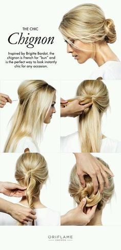 To create your own chic chignon, start with straig. To create your own chic chignon, start with straight hair and tease to create volume. Use hairpins to shape the teased hair at the top of your head, making it high and rounded. Then take both sides of Straight Hair Updo, Sleek Hair Updo, Straight Hairstyles Prom, Simple Hair Updos, Bridesmaid Hair Straight, Medium Hair Styles, Curly Hair Styles, Teased Hair, Bun Hairstyles